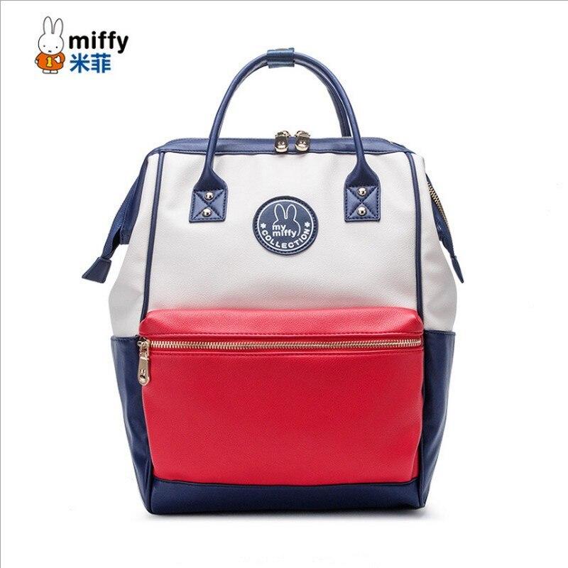 miffy Brand Student School Bag High Quality Backpack PU Waterproof Shoulder Bag Large Capacity Bags Travel Women's Backpack