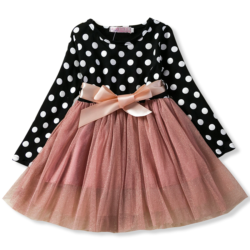 2019 Autumn Winter Girl Dress Long Sleeve Polka Dot Girls Dresses Bow Princess Teenage