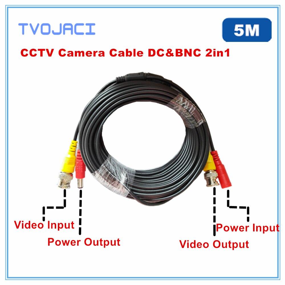 BNC DC  Power Video Security  CCTV Camera Cable 5m For Analog AHD CVI TVI  Power Video Cable  Surveillance Camera DVR System