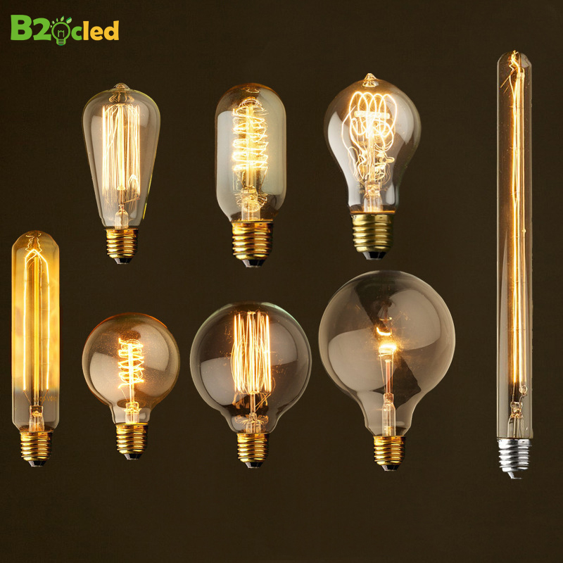 Retro Edison Light Bulbs E27 220V 40W ST64 Bar Cafe Living Room Shop Vintage Industrial Lamp Incandescent Ampul Light Bulb Decor