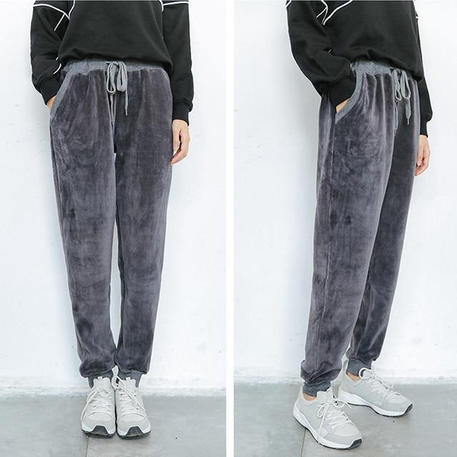 80b067995 Pantalon Femme Casual Invierno Harem Pantalones Mujer Pantalones Deportivos Mujer  Terciopelo corredores Sueltos mujeres pierna ancha