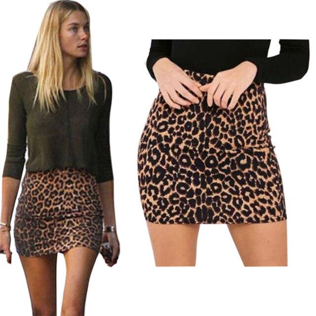 c629e83404 Harajuku Sexy Leopard print denim skirt women bodycon high waist pencil  skirt Streetwear fashion casual mini skirt Female faldas