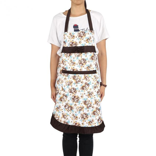 Restaurant Kitchen Accessories online shop 1pc rose pattern bow apron dress with pocket adult