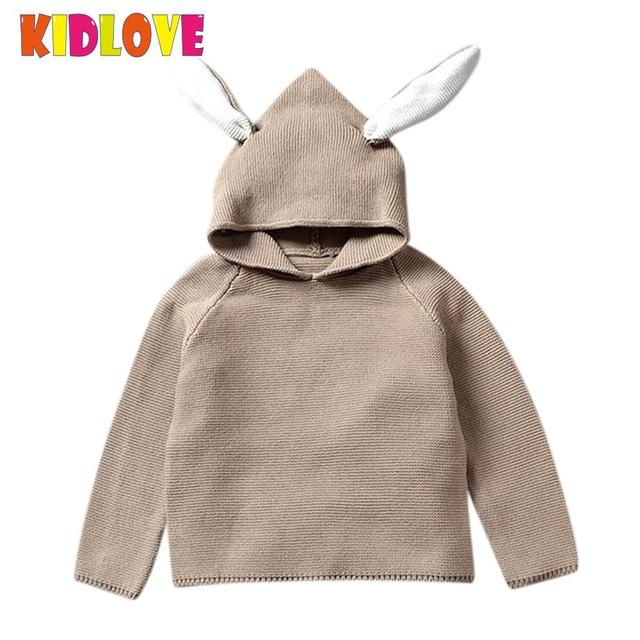 17f3c24f91 KIDLOVE Baby Boy Girl Sweater Cotton Pullover Children Knitted Blouse with  Cute 3D Rabbit Bunny Ears