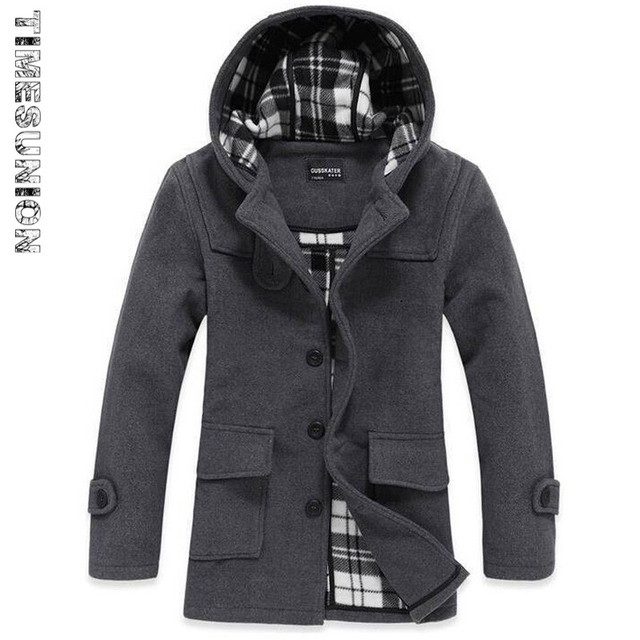 Men's Wool Trench Coat Hot Sale Fashion Autumn Winter Thick Slim Stand Collar Casual Jacket