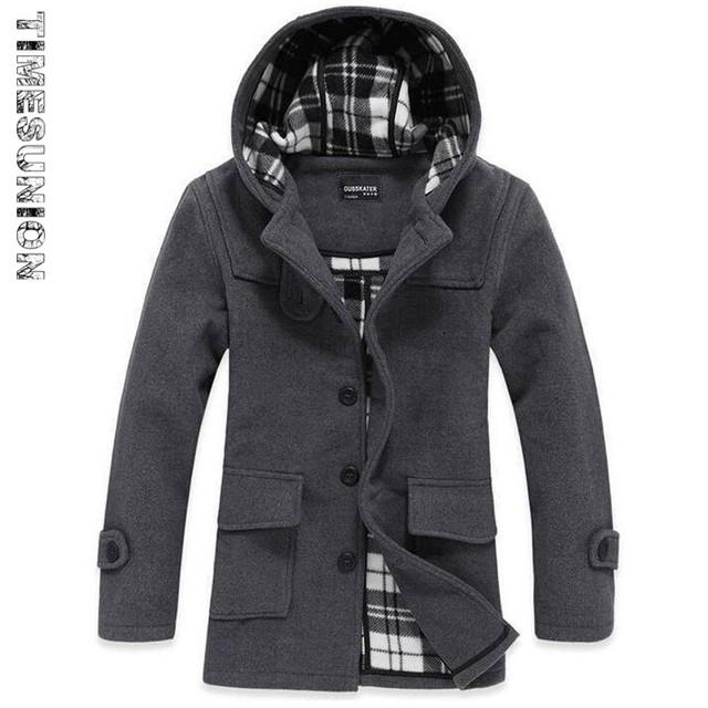 Trench Coat de Lã dos homens Venda Quente Da Moda Outono Inverno Grosso Magro Gola Jaqueta Casual