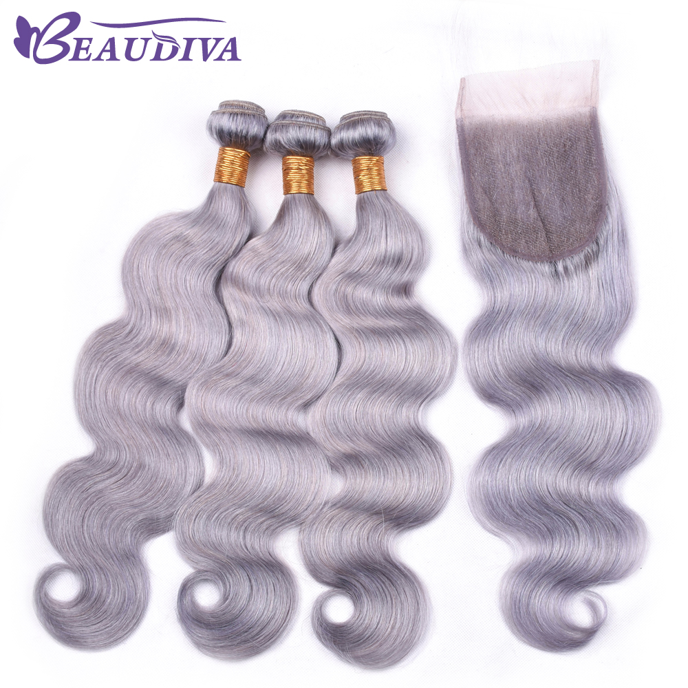 Beaudiva 3PCS Body Wave Hair Bundles With Closure 4*4 Free Part 120% Swiss Lace Closure With Brazilian Human Hair Weave Bundles