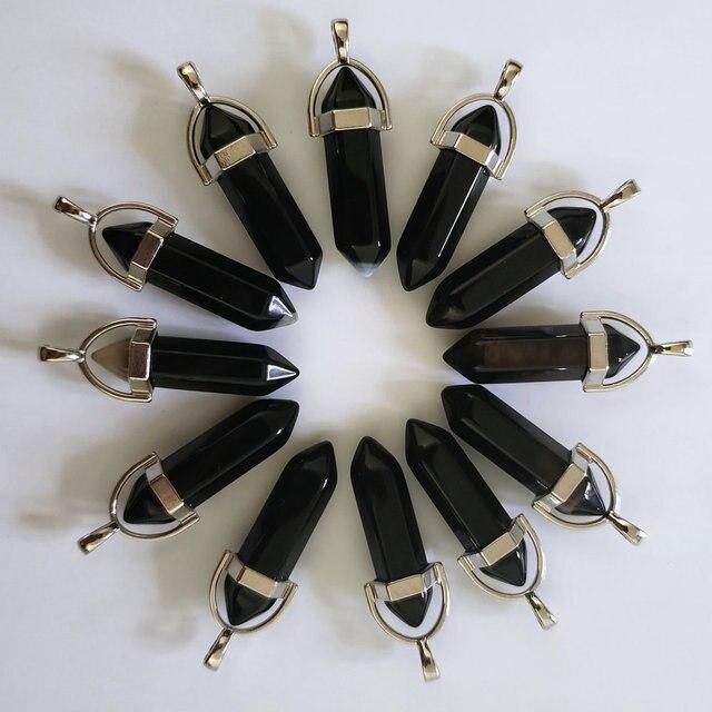 Pierres donyx noires naturelles, pendentifs en forme de balle, breloques Chakra, tendance pour la fabrication de bijoux, vente en gros, 24 pièces/lot