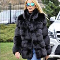 2018 winter new lady imitation fox fur grass artificial fur long sleeve warm fashion fur coat