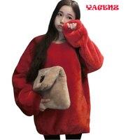 2017 New Sweater Ladies Autumn Winter Casual Long Section Sweater Women Rex Rabbit Plush Shirt Imitation