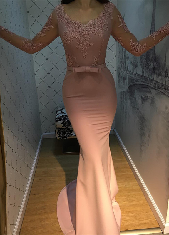 New Design   Prom     Dress   Long Mermaid Womens 2018 Maxi Gowns Lace Sexy Long Sleeves Amazing Floor Length Evening   Dress