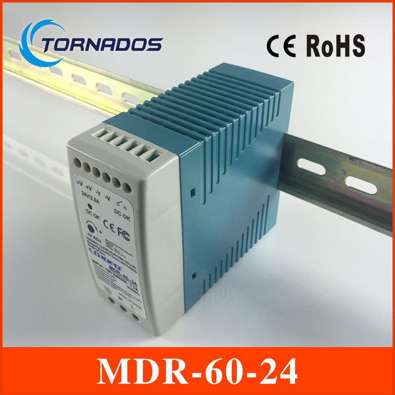 ac dc din rail MDR-60-24 24V 2.5A 60W Switching Power Supply Industrial DIN rail Mini switching power supply for LED driver low price direct sale din rail smps mdr 60 12 mdr series 12v 5a 60w ce switching power supply for led strip light lamp