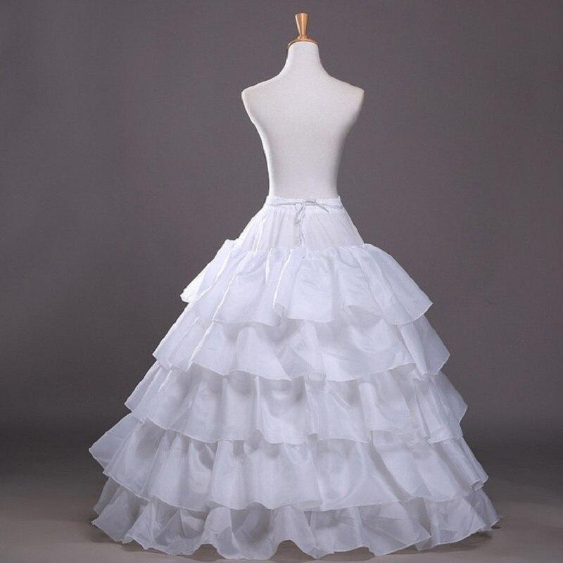 2019 Fashion Wedding Petticoat 4 Hoop Skirt 5 Layers Ruffles Elastic Waist Red Black White Women Underskirt for Ball Gowns Jupon