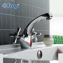 FRAP Classic Silver bathroom Basin faucet mixer Toilet Faucet Double handle bath tap hot and cold water mixer control F1025