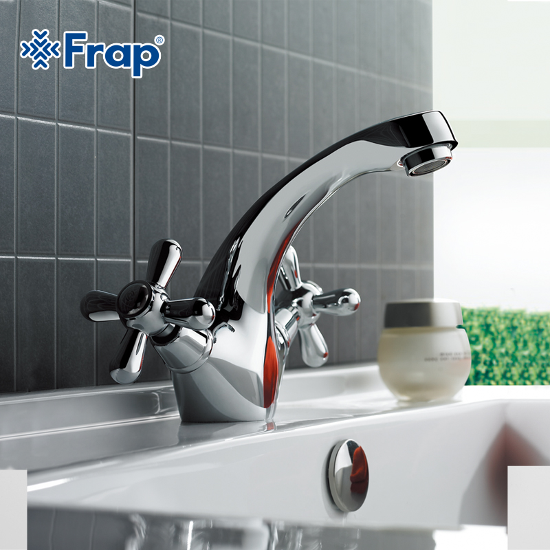 FRAP Classic Silver Bathroom Basin Faucet Mixer Toilet Faucet Double Handle Bath Tap Hot And Cold Water Mixer Control F1025