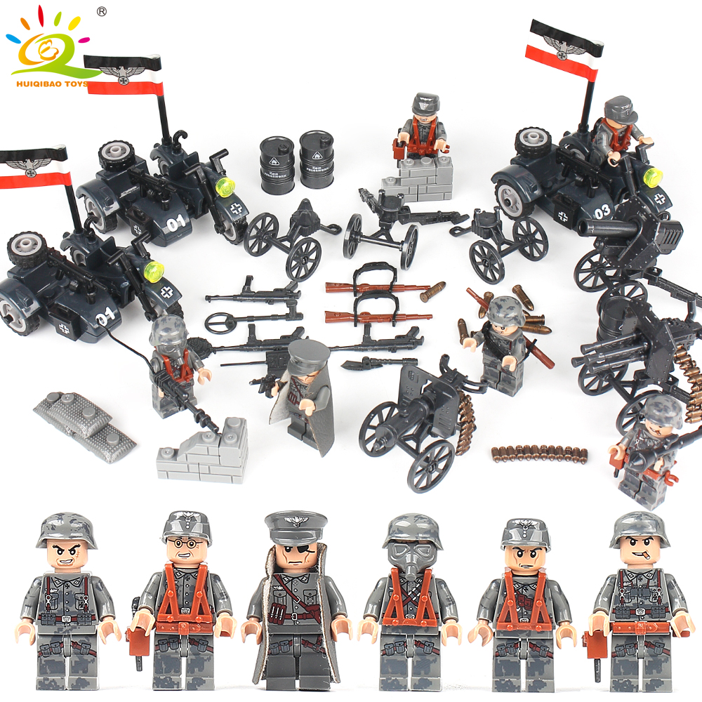 6pcs Army WW2 German soldiers Building Blocks set Compatible Legoed Military Figures with Weapon Gun DIY brick Toys for children цена