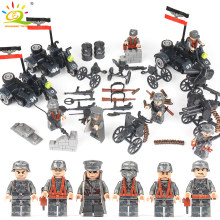 6pcs Army WW2 German soldiers Building Blocks set Compatible Legoed Military Figures with Weapon Gun DIY brick Toys for children(China)