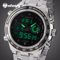 INFANTRY Stainless Steel Strap Watch Digital Waterproof Men S Quartz Movement Analog Digital Date Alarm Military