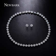 NEWBARK Earrings Choker Necklace Set White Gold Plated Jewelry Sets Round Pave Wedding Bridal Jewelry