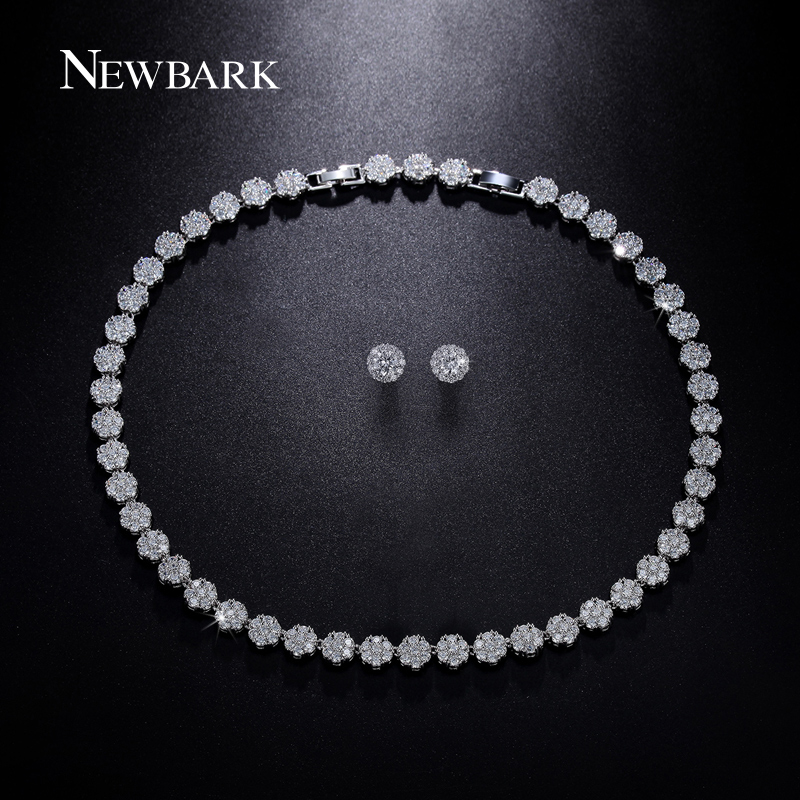NEWBARK Best Design Bridal Jewelry Set Silver Color Necklace And Earrings Sets Round Shape AAA+ Cubic Zirconia For Wedding newbark silver color cubic zircon bridal jewelry necklace leaf shape rhinestone choker necklaces for women wedding