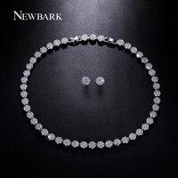 NEWBARK Beste Design Brautschmuck Set Silber Farbe Halskette Und Ohrringe Sets Runde Form AAA + Zirkonia Für Hochzeit