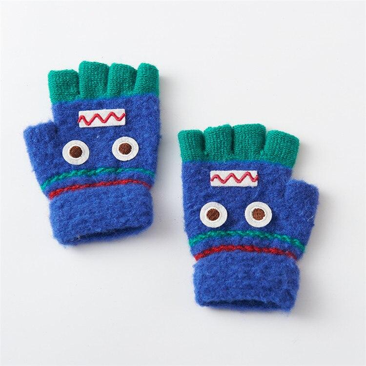 Варежки для детей подвергается Прихватки для мангала зима теплая половина палец Прихватки для мангала легко писать руки теплые Прихватки для мангала c6131 - Цвет: deep blue
