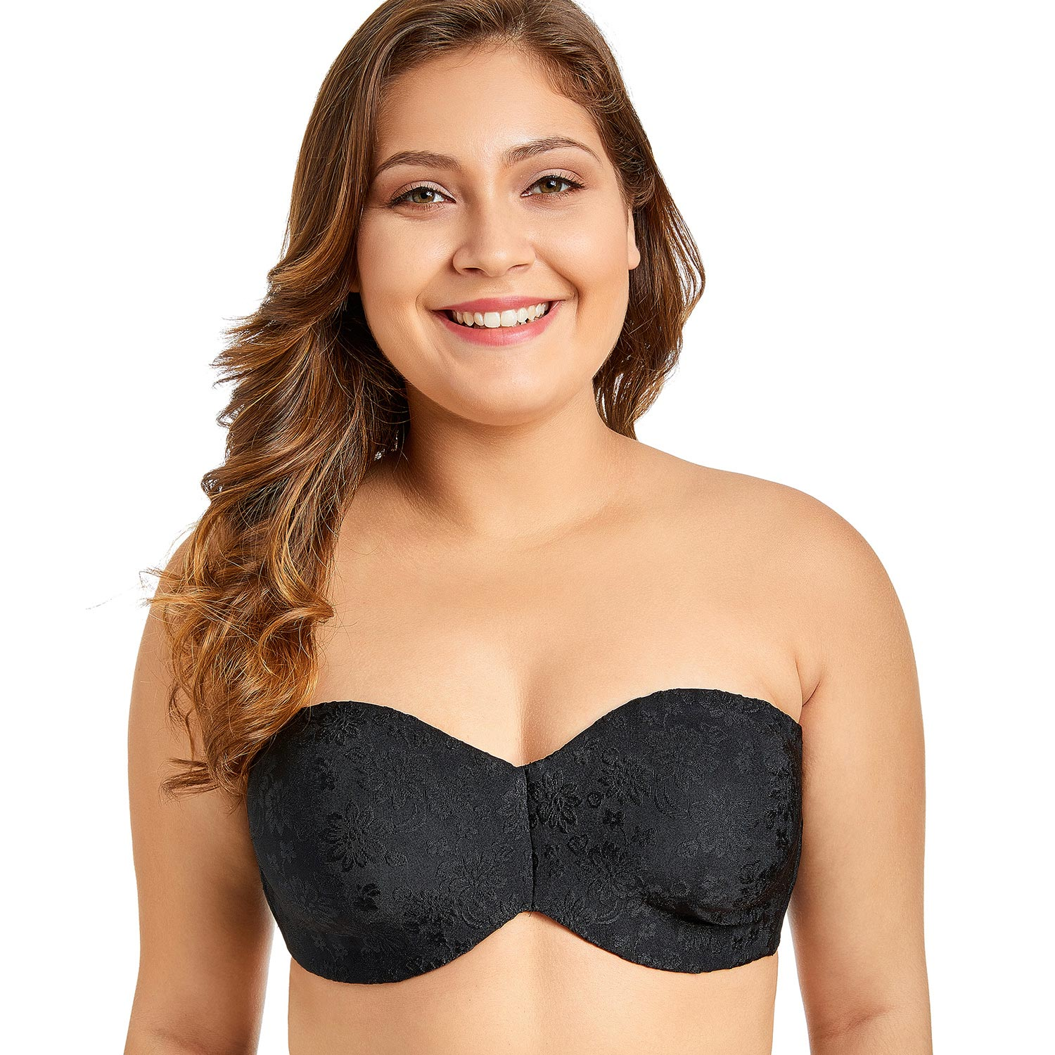 Women's Multitway Floral Jacquard Non-padded Underwire Strapless Bra