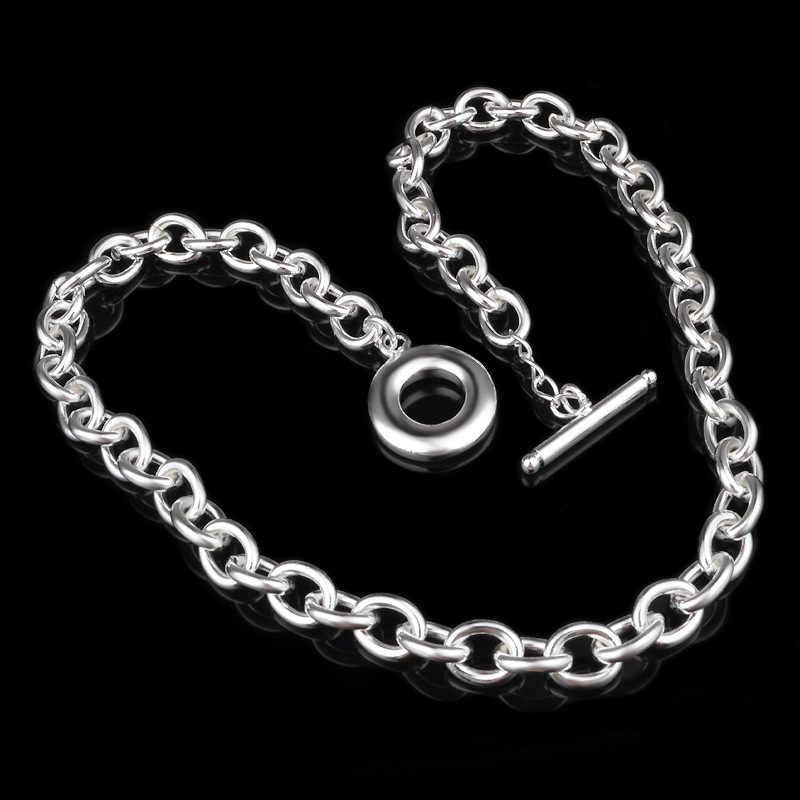 OMHXZJ hurtownia mody osobistej OL kobieta dziewczyna wesele prezent srebrny do łańcucha bąbelkowego 925 srebro naszyjnik NC30