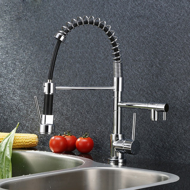 Chrome Brass Bathroom Basin Faucet Vanity Sink Mixer Tap Dual Sprayer Single Handle