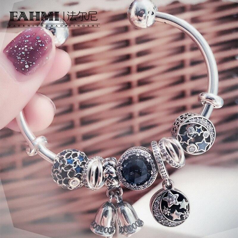 FAHMI 100% 925 Bracelet de noël d'hiver en argent Sterling ensemble étoile lune carillons éoliens océan coeur charme femmes bijoux originaux