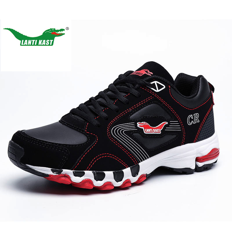 LANTI KAST Men Running Shoes Popular Cushioning Lace Up Male Sport Shoes Outdoor Athletic Wearable Sneaker Men Large Size 37-47