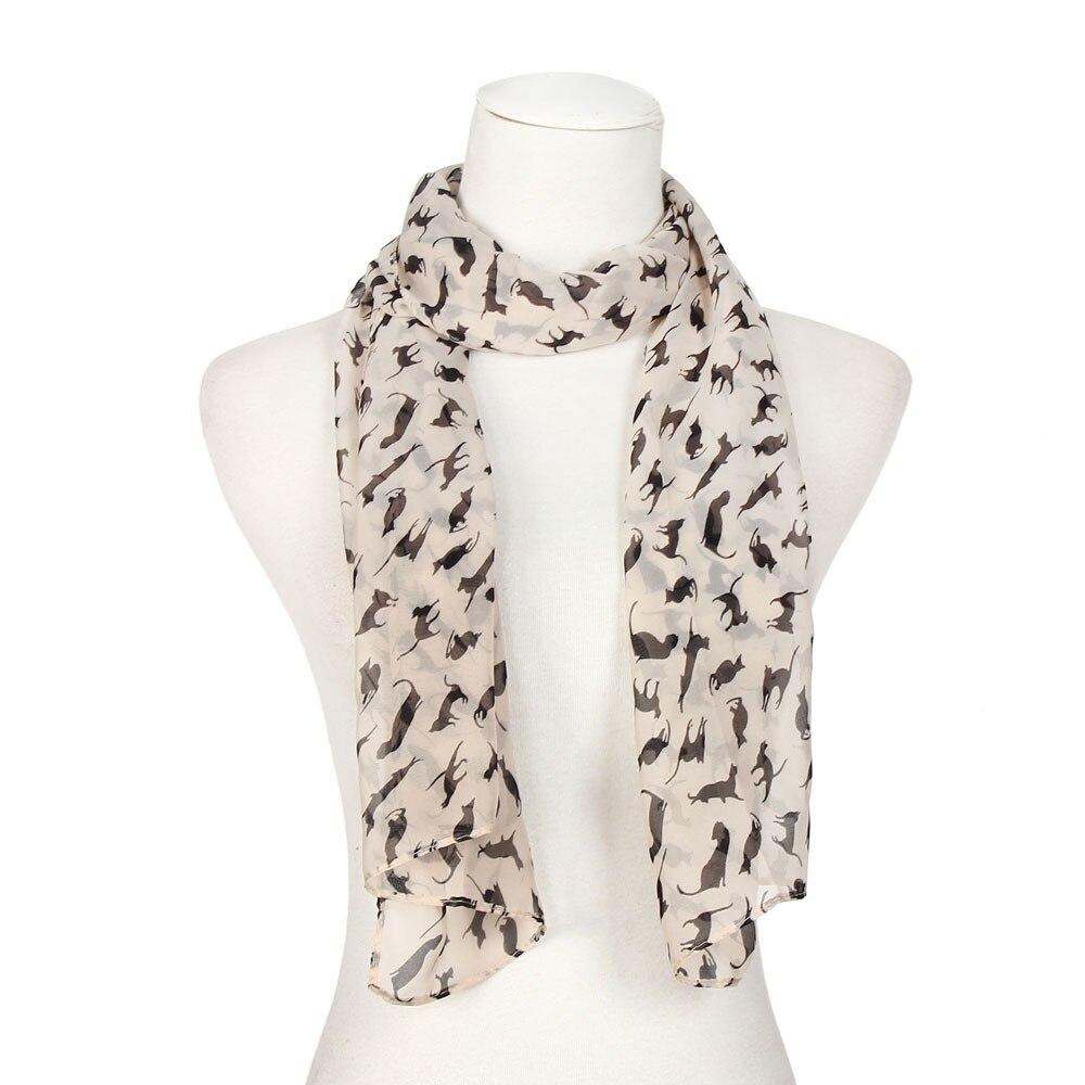 Scarfs Print Cat Black Women hijab Scarve Chiffon   Wraps   Lady Shawl Chiffon   Scarf     Scarves   fular foulard Vintage1.35