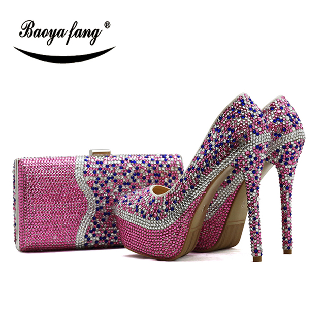 BaoYaFang New 2018 Multicolored womens wedding shoes with matching bags  Pink crystal shoe and purse sets free shipping 634974cd0ddc