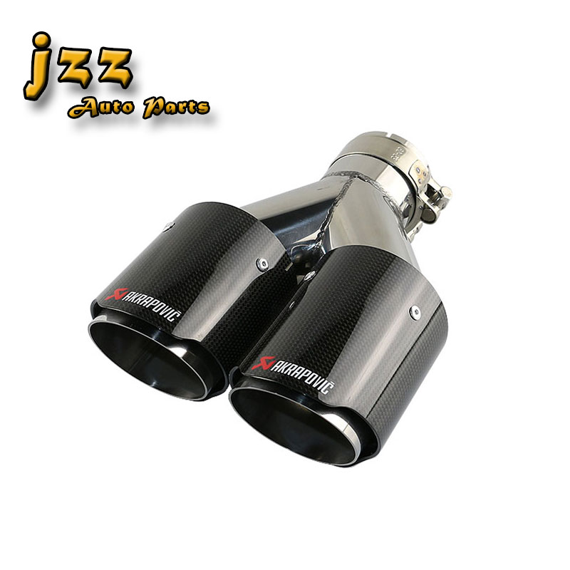 """JZZ 1pcs akrapovic car exhaust tip muffler for car silencer 2.5"""" carbon fiberglass dual tip turbo nozzle 3.5"""" outlet Free Ship-in Mufflers from Automobiles & Motorcycles    1"""