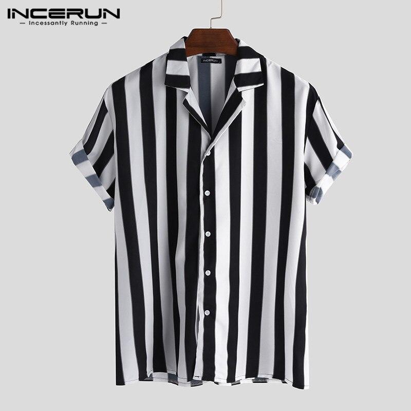 INCERUN Summer Men Striped Shirt Short Sleeve Button Turn-down Collar Brand Shirts Loose Casual Hawaiian Blouse Streetwear 2020