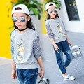 2017 Spring Baby Girl Fashion Hoodies Cartoon Rabbit Pattern Kid Patchwork Clothes Stripe Sleeve Children Pullover Top Tees