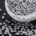 Electroplate Glass Seed Beads, Round Hole Rocailles, Silver Color, Size: about 4mm in diameter, 2.5mm thick, hole: 1mm
