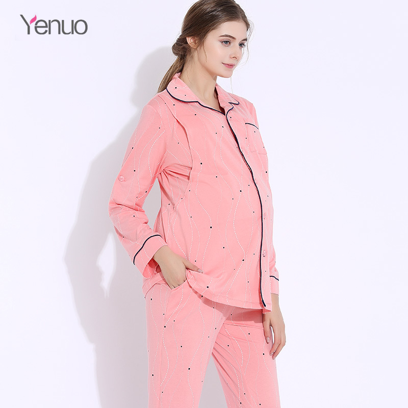 Maternity Clothes suits Pregnant Women Pajamas Breastfeeding Pregnancy Winter 2pcs/set Long Sleeve Flannel Warm Nursing clothing