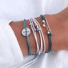 IIPARAM Богемия горный Веревка Браслет цепочка для женщин ручной работы Плетение серебристый компас браслеты Pulseras Mujer кисточкой ювелирные изделия