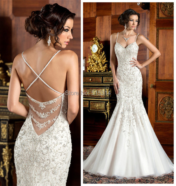 Heavy beaded mermaid wedding dress sweetheart neckline open back ...