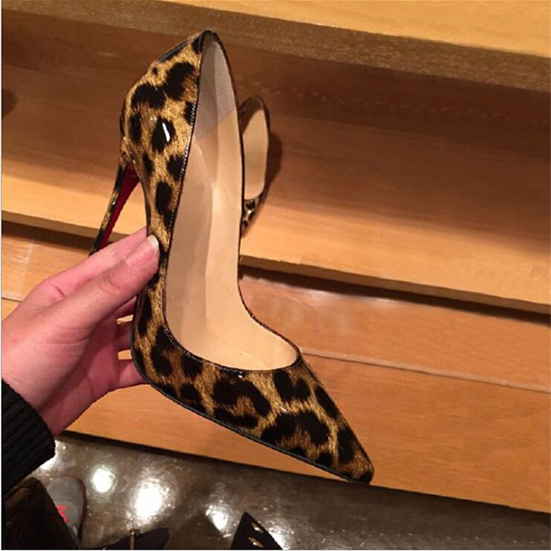 SLHJC Size 34-41 Women Extreme High Heels Leather Pumps 10 CM Classic Stiletto Thin Heel Pointy Toe Party Club Shoes Leopard big size 40 41 42 women pumps 11 cm thin heels fashion beautiful pointy toe spell color sexy shoes discount sale free shipping
