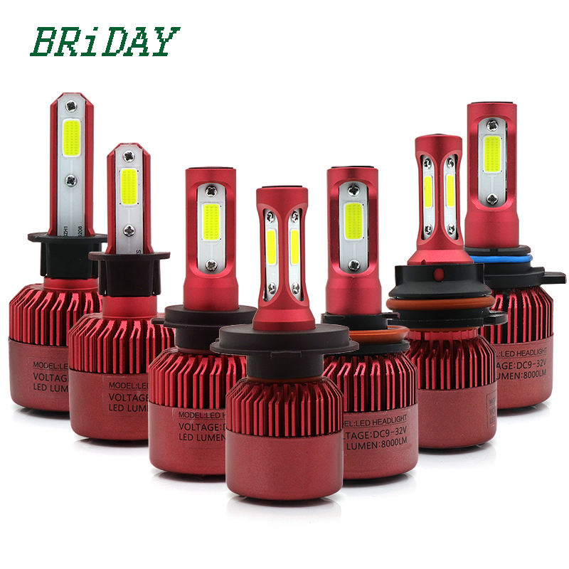 S5 H4 H7 H11 H1 H13 H3 9004 9005 9006 9007 9012 COB LED Car Headlight Bulb Hi-Lo Beam 76W 8000LM 6500K Auto Headlamp 12v 24v car headlight led h4 h7 h11 72w 8000lm 6000k led h1 h3 h13 9005 9006 9004 880 9007 auto cob bulb automobiles headlamp car light