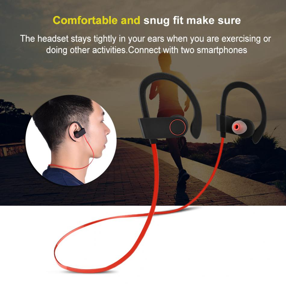 2 colors Wireless Bluetooth 4.1+EDR Long-Standby Headset Sport Earphone IP67 Waterproof Ear-hook Headse