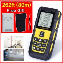 Yellow 245ft (80m) Laser Distance Meter Level Rangefinder Range Finder Tape Measure Area/Volume