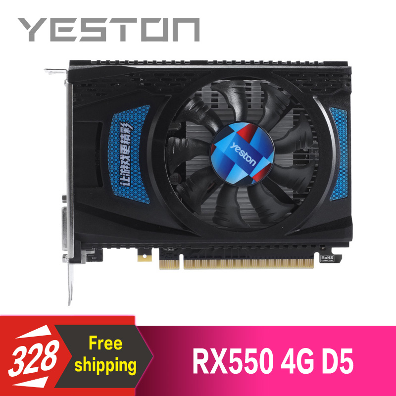 Yeston Radeon RX550 4GB GDDR5 PCI Express 3 0 DirectX12 video gaming graphics card external graphics