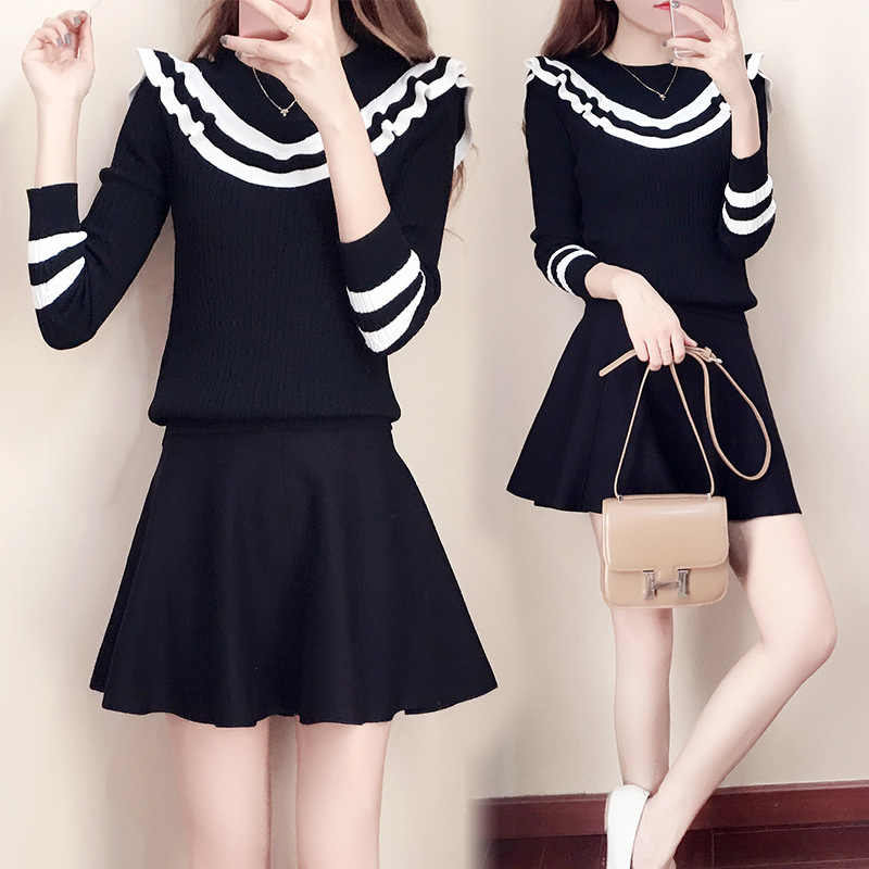 a5224ae03 ... 2019 Spring Autumn 2pcs Sets Women Knitted Sweater Dress Korean  Japanese Style Mini Dress Sweater Tops ...