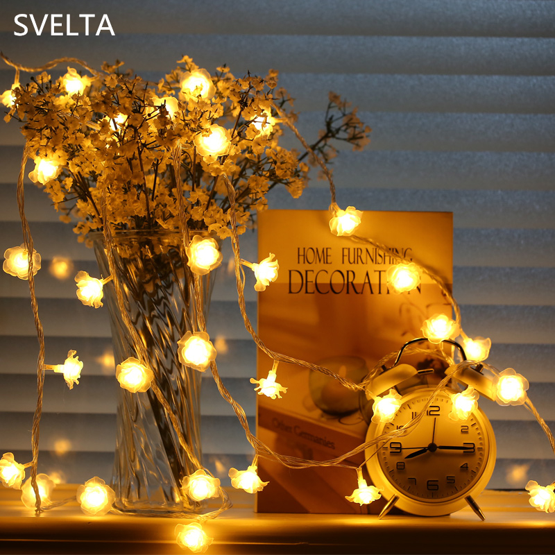 svelta 10m 100 led garland christmas rose flower string lights festoon fairy holiday lights for wedding valentine decoration
