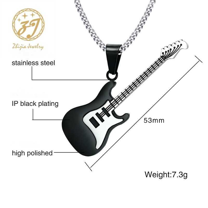 Zhijia ожерелье с гитарами для мужчин/женщин подарок для меломана черный/золотой цвет из нержавеющей стали кулон и цепь хип хоп рок ювелирные изделия