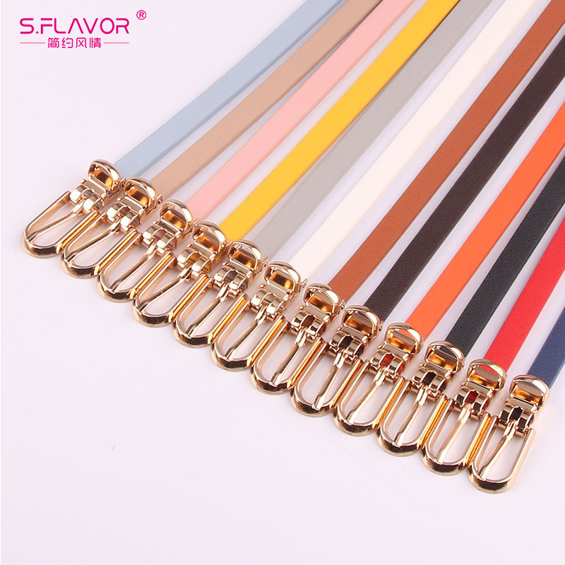 S.FLAVOR Women Faux Leather   Belts   Candy Color Thin Skinny Waistband Adjustable   Belt   Simple Solid Color Fashion Thin   Belt   Female