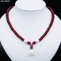 Joyería Elegante Noble Profundo Rojo de Rubíes de Piedra Natural Collar de Cuentas de Concha de Perla Colgante